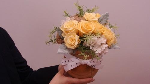 日比谷花壇母の日JANE PACKER プリザーブド&アーティフィシャルアレンジメント「ハニーラテ」