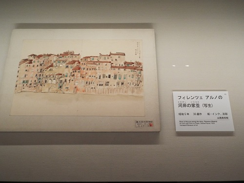フィレンツェ アルノの河岸の家並(写生) 1930(昭和5)年 山種美術館